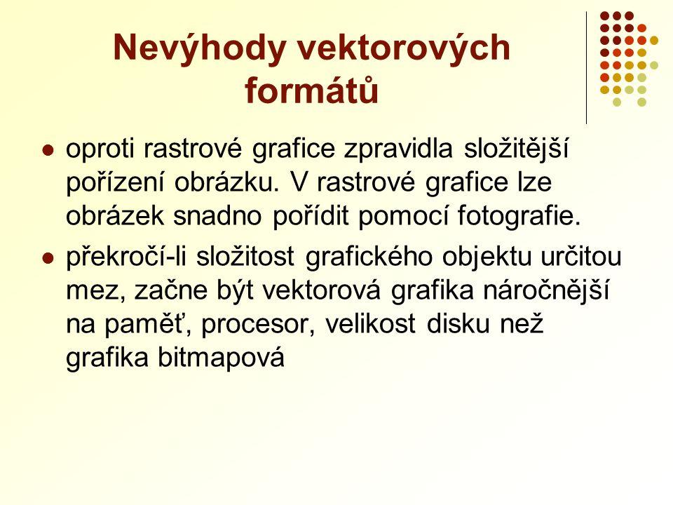 Nevýhody vektorových formátů