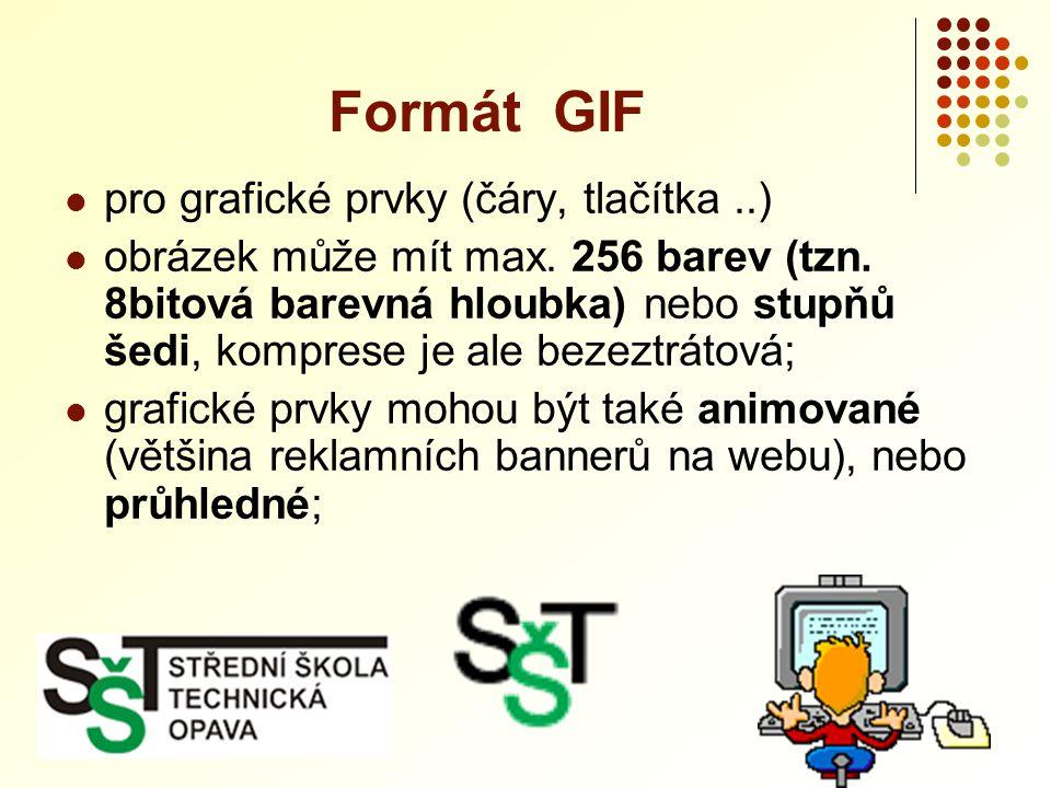 Formát GIF pro grafické prvky (čáry, tlačítka ..)