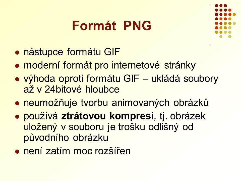 Formát PNG nástupce formátu GIF moderní formát pro internetové stránky