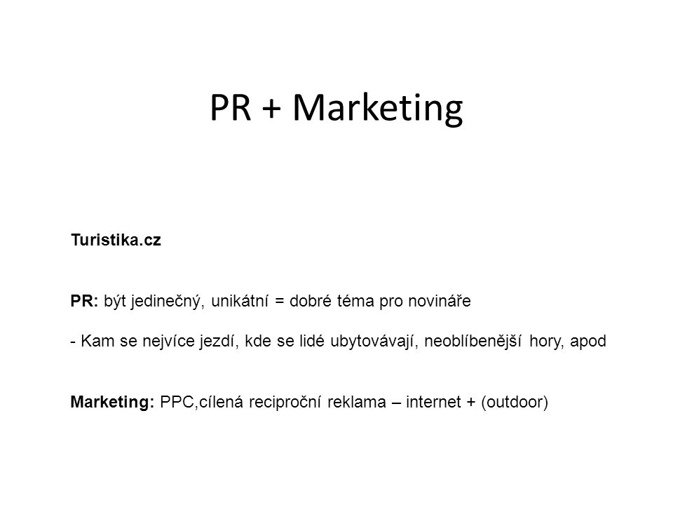 PR + Marketing Turistika.cz