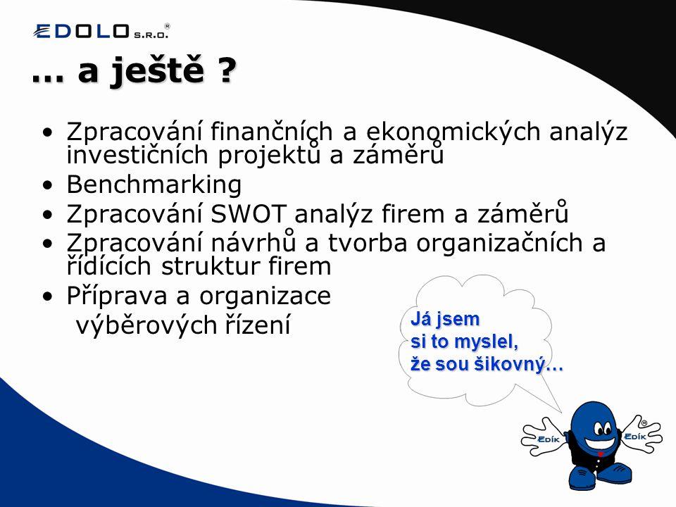 … a ještě Zpracování finančních a ekonomických analýz investičních projektů a záměrů. Benchmarking.