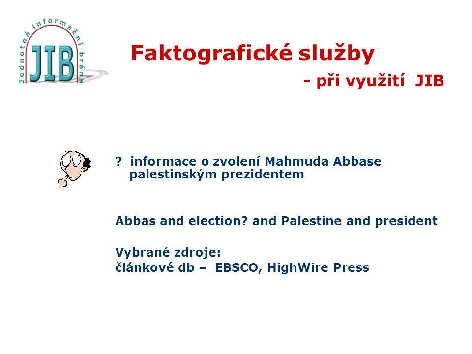 Faktografické služby - při využití JIB