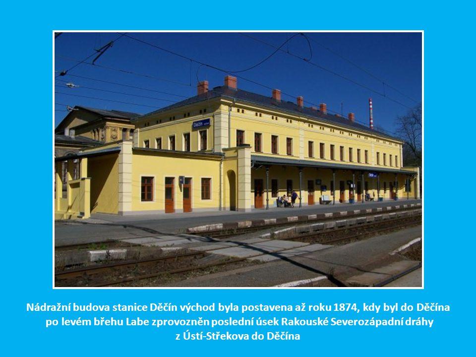 Nádražní budova stanice Děčín východ byla postavena až roku 1874, kdy byl do Děčína po levém břehu Labe zprovozněn poslední úsek Rakouské Severozápadní dráhy z Ústí-Střekova do Děčína