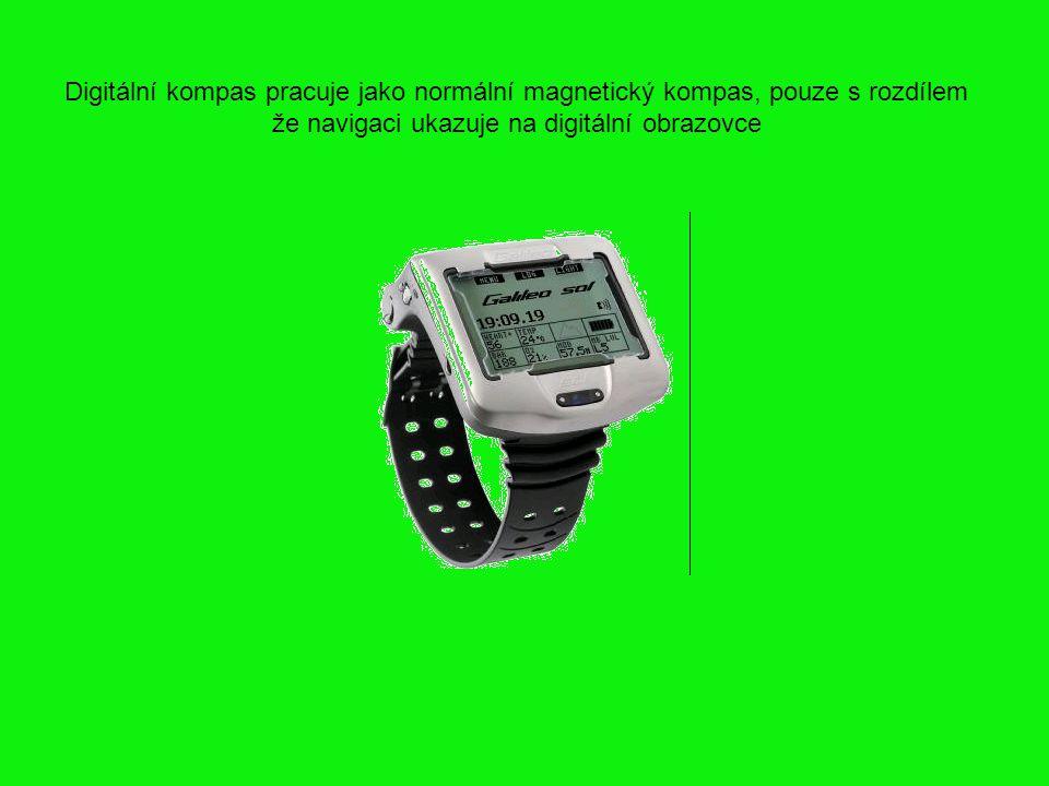 Digitální kompas pracuje jako normální magnetický kompas, pouze s rozdílem že navigaci ukazuje na digitální obrazovce