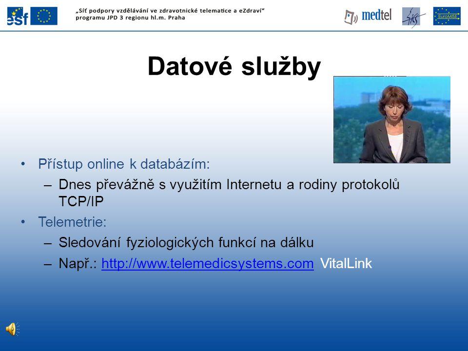 Datové služby Přístup online k databázím: