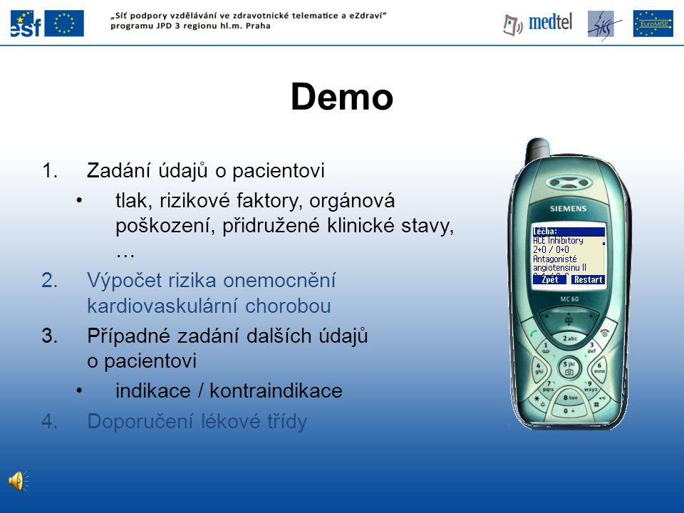 Demo Zadání údajů o pacientovi