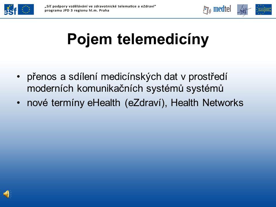 Pojem telemedicíny přenos a sdílení medicínských dat v prostředí moderních komunikačních systémů systémů.