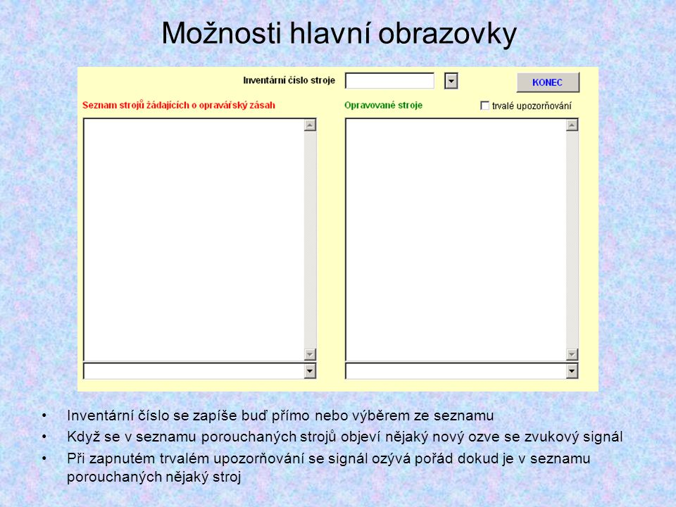 Možnosti hlavní obrazovky