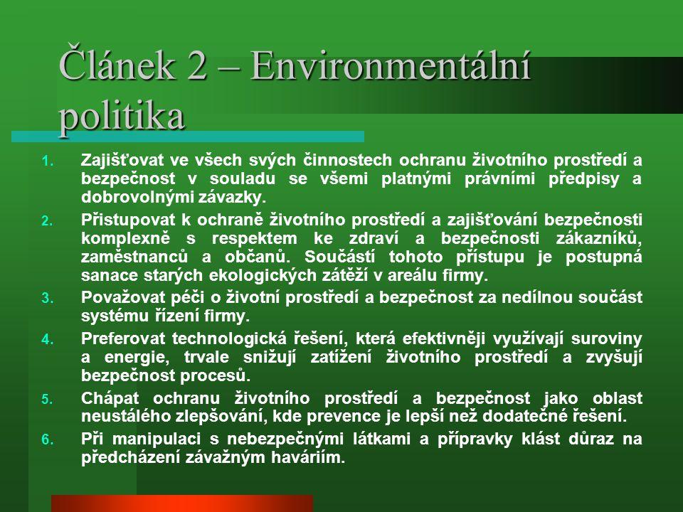 Článek 2 – Environmentální politika