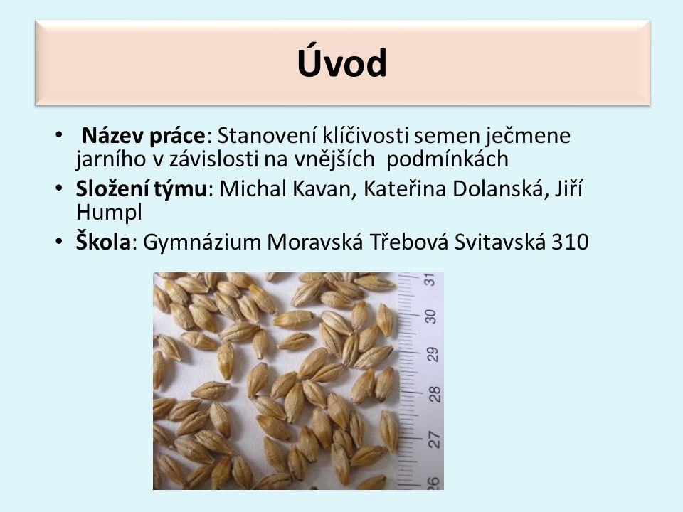 Úvod Název práce: Stanovení klíčivosti semen ječmene jarního v závislosti na vnějších podmínkách.