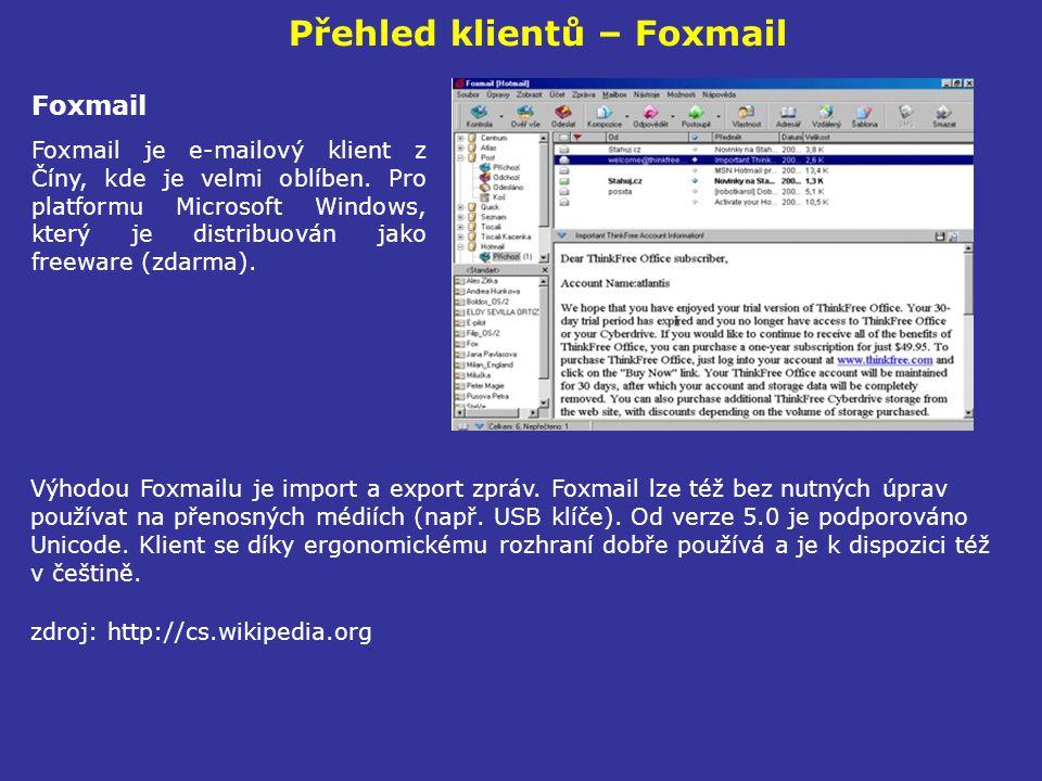 Přehled klientů – Foxmail