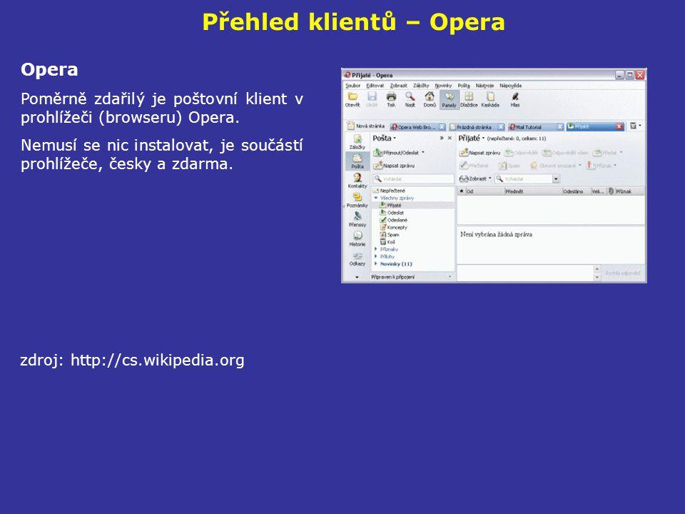 Přehled klientů – Opera