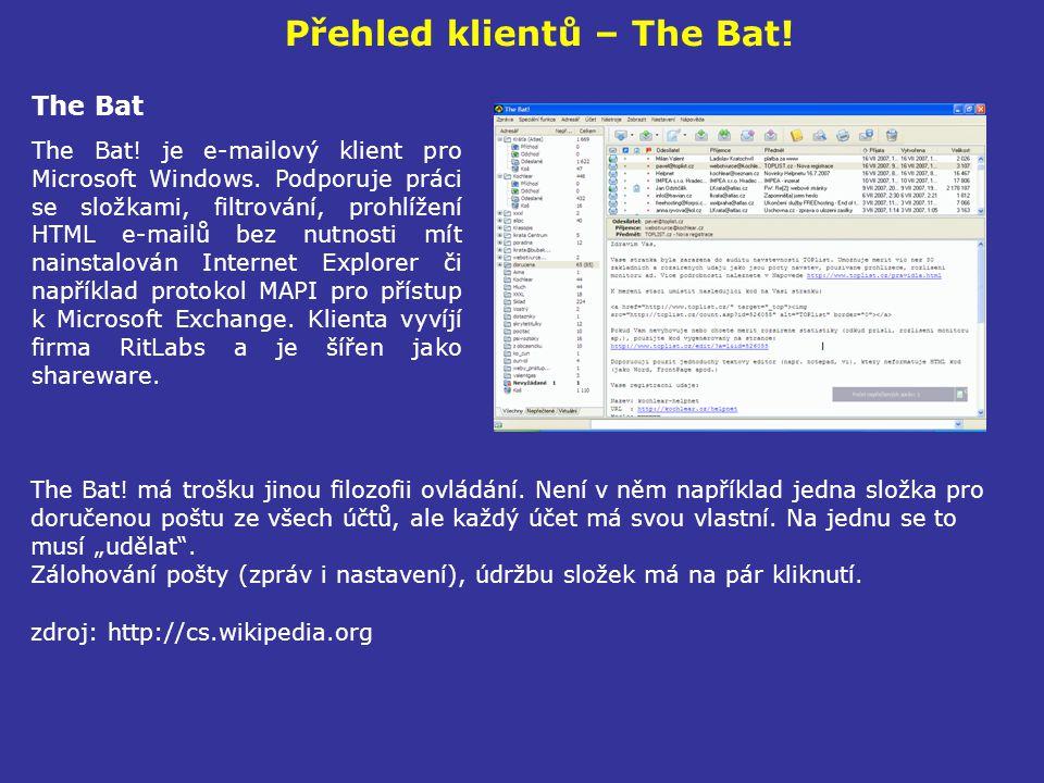 Přehled klientů – The Bat!
