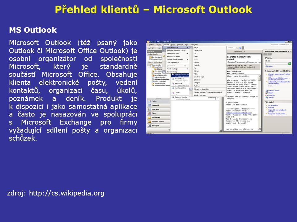 Přehled klientů – Microsoft Outlook