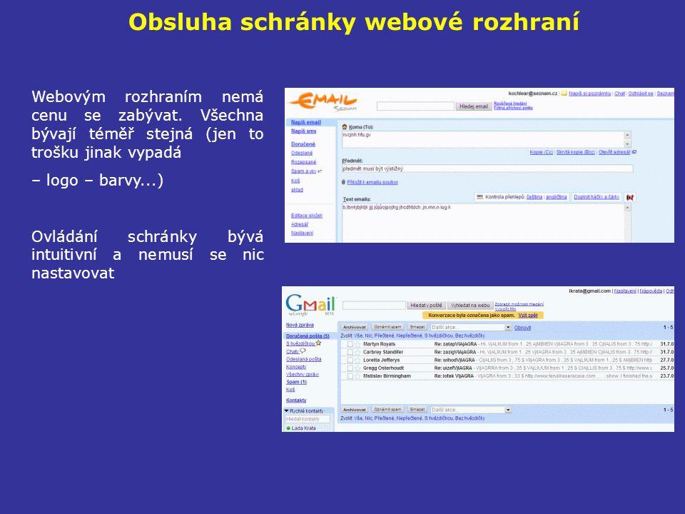 Obsluha schránky webové rozhraní