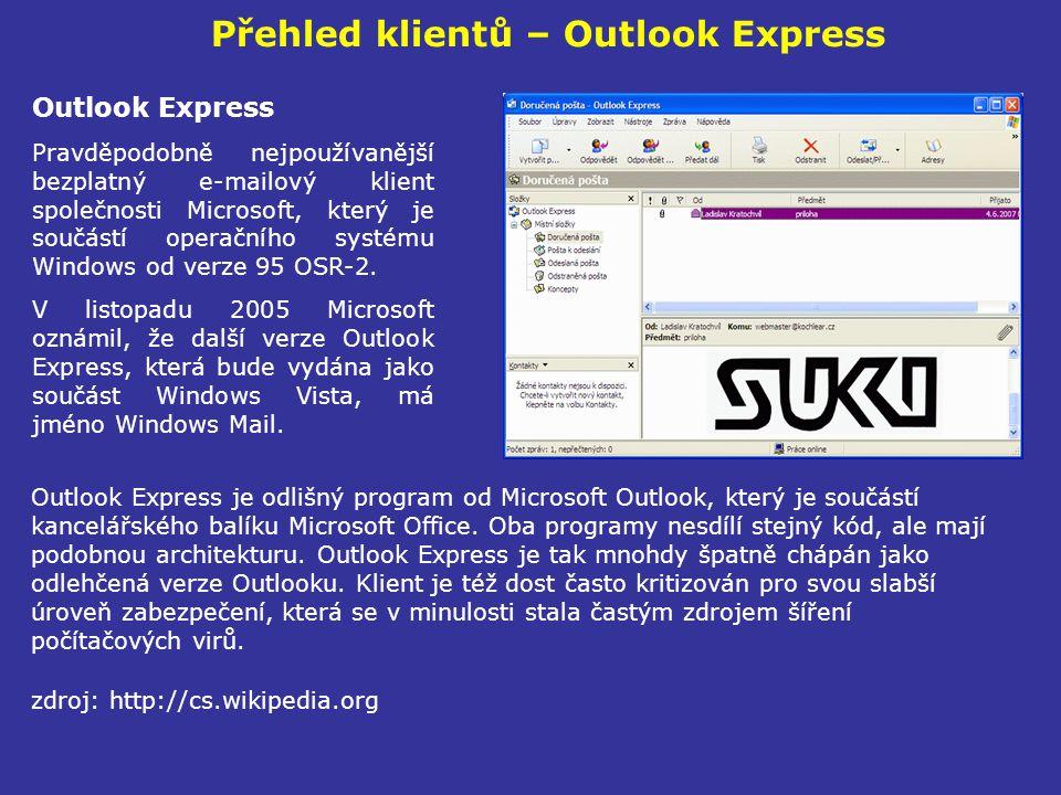 Přehled klientů – Outlook Express