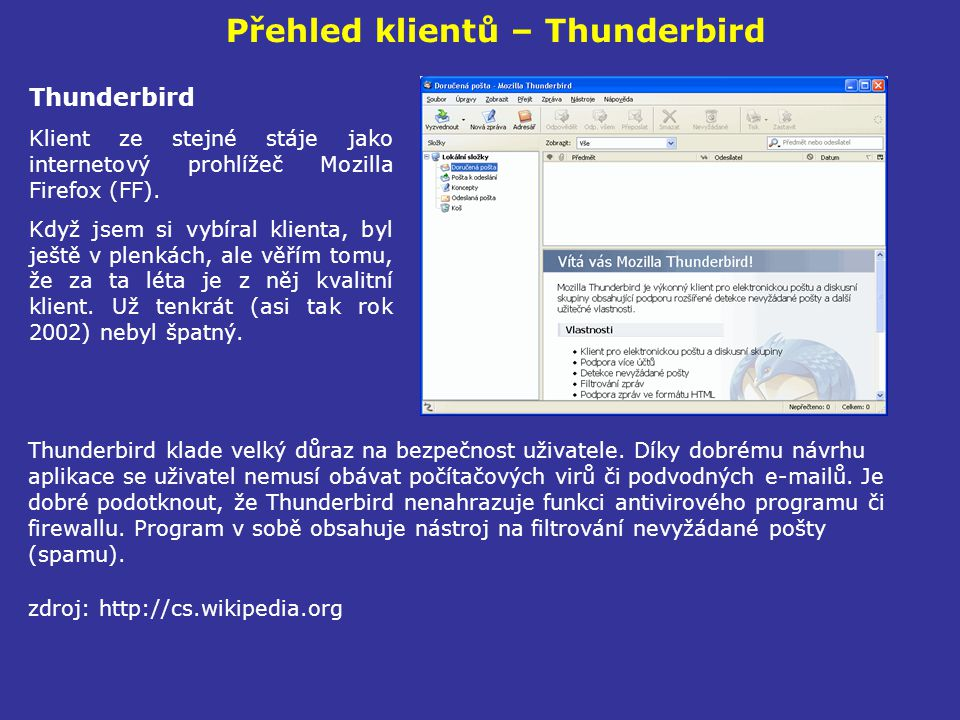 Přehled klientů – Thunderbird
