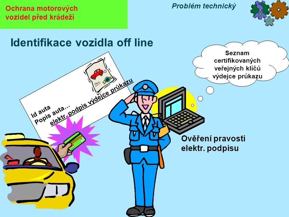 Identifikace vozidla off line