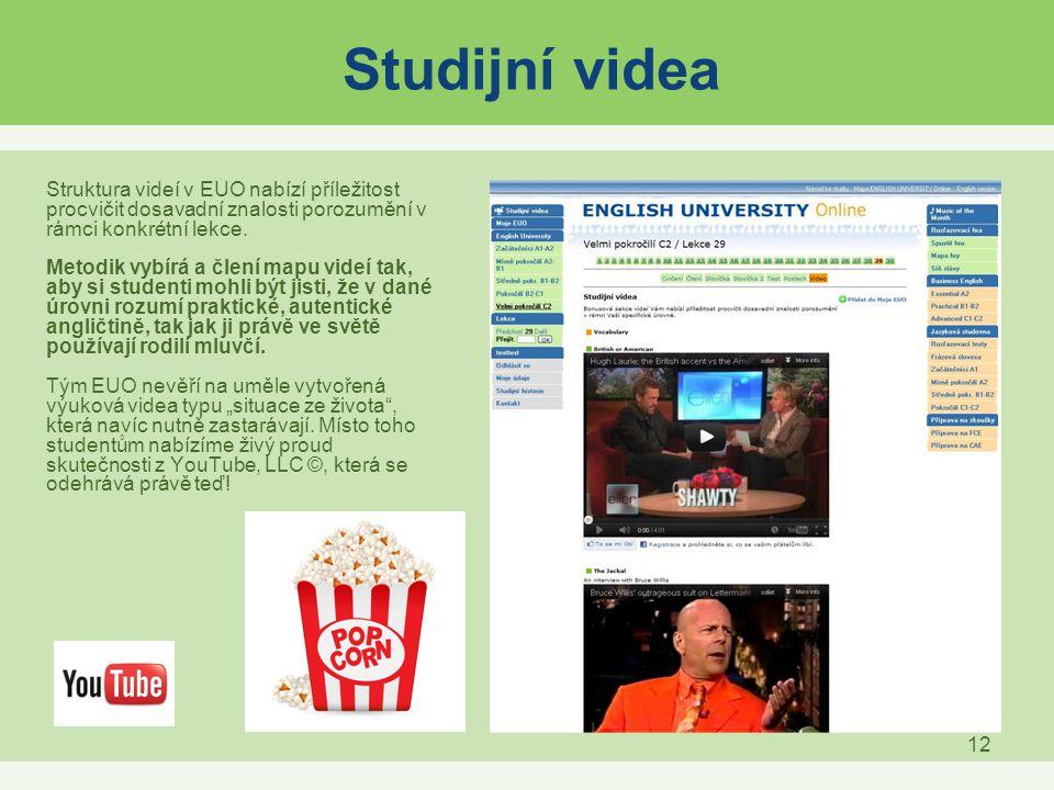 Studijní videa Struktura videí v EUO nabízí příležitost procvičit dosavadní znalosti porozumění v rámci konkrétní lekce.