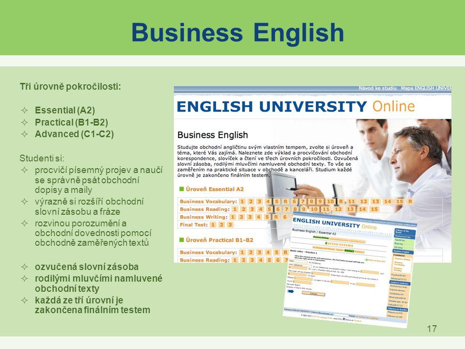 Business English Tři úrovně pokročilosti: Essential (A2)