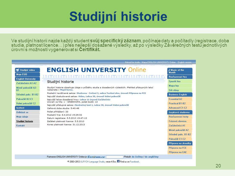 Studijní historie