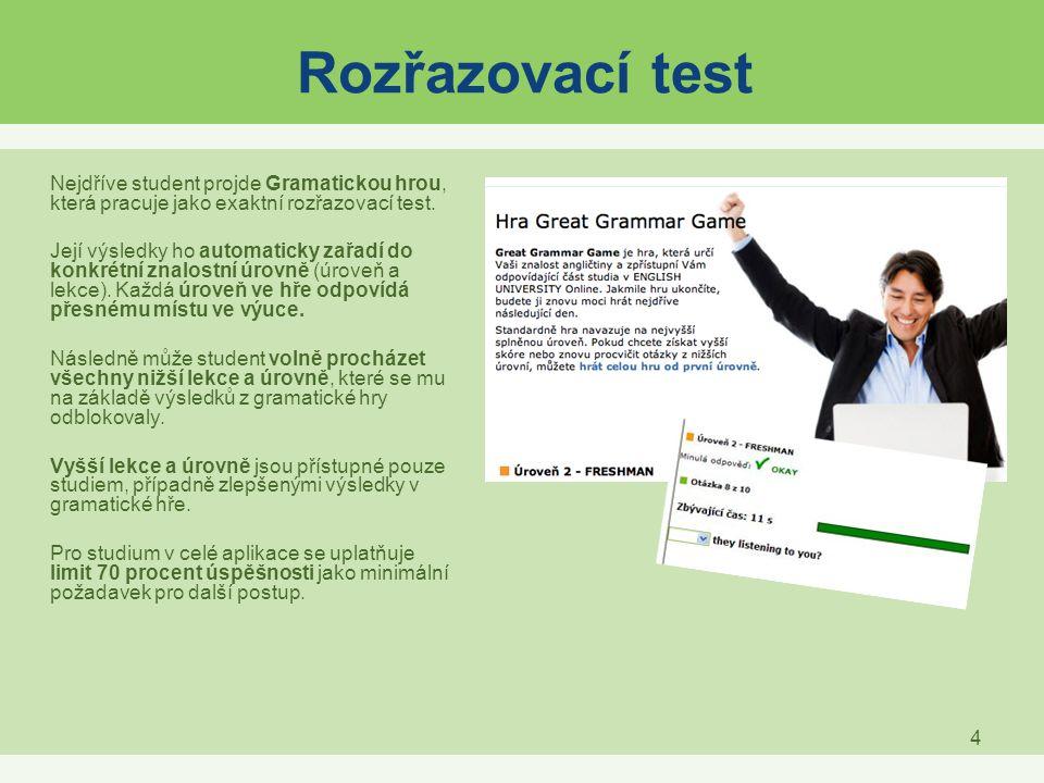 Rozřazovací test Nejdříve student projde Gramatickou hrou, která pracuje jako exaktní rozřazovací test.