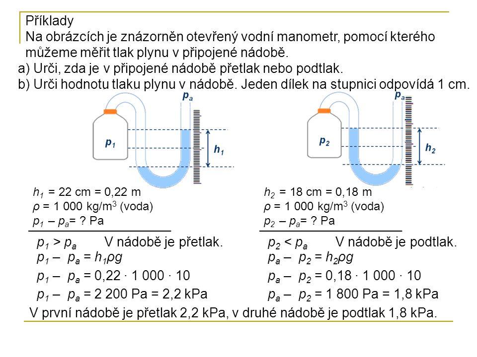 V první nádobě je přetlak 2,2 kPa, v druhé nádobě je podtlak 1,8 kPa.