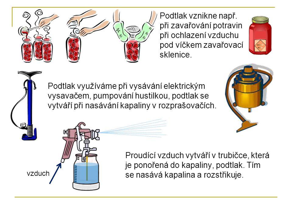 Podtlak vznikne např. při zavařování potravin při ochlazení vzduchu pod víčkem zavařovací sklenice.