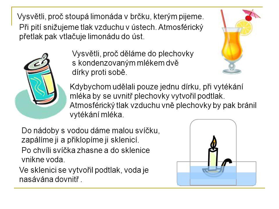 Vysvětli, proč stoupá limonáda v brčku, kterým pijeme.