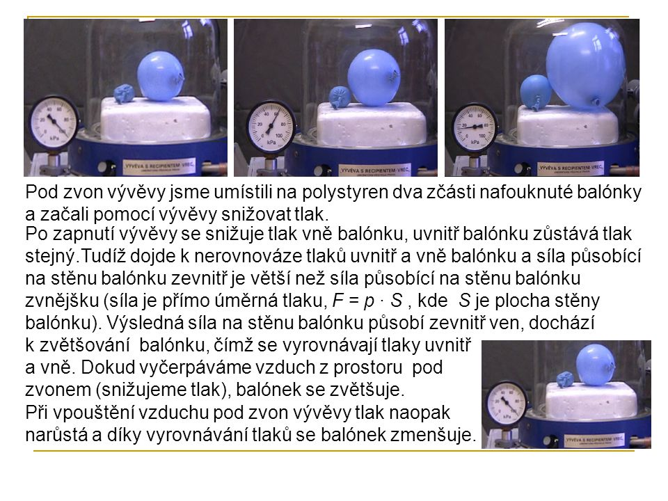 Pod zvon vývěvy jsme umístili na polystyren dva zčásti nafouknuté balónky a začali pomocí vývěvy snižovat tlak.