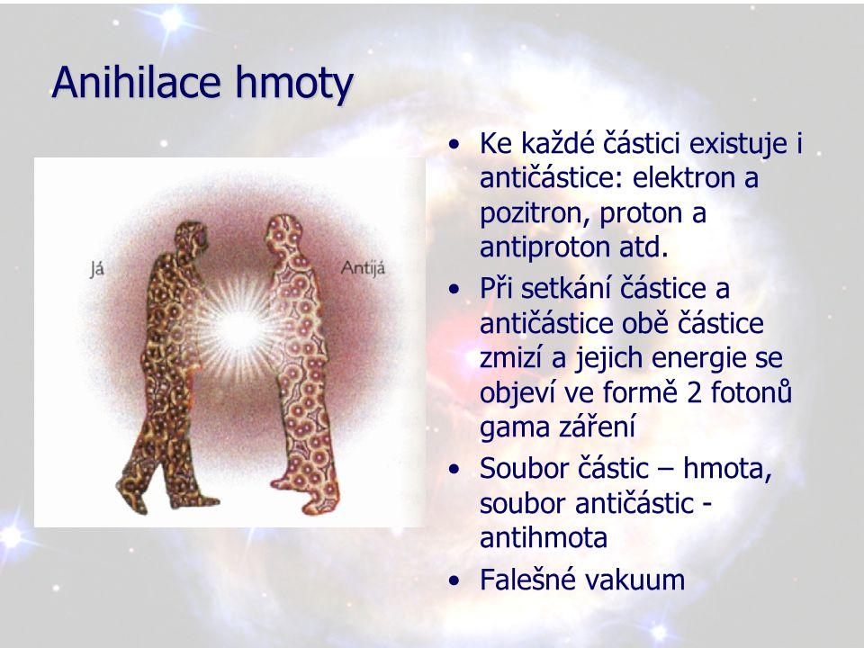Anihilace hmoty Ke každé částici existuje i antičástice: elektron a pozitron, proton a antiproton atd.