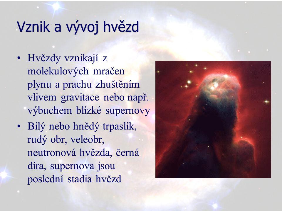 Vznik a vývoj hvězd Hvězdy vznikají z molekulových mračen plynu a prachu zhuštěním vlivem gravitace nebo např. výbuchem blízké supernovy.