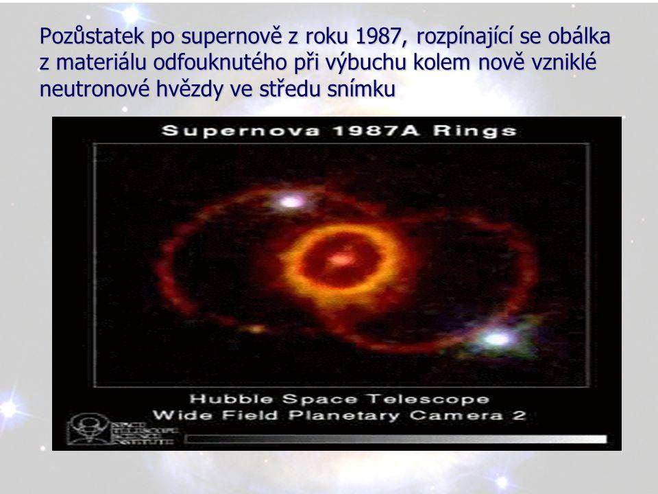 Pozůstatek po supernově z roku 1987, rozpínající se obálka z materiálu odfouknutého při výbuchu kolem nově vzniklé neutronové hvězdy ve středu snímku