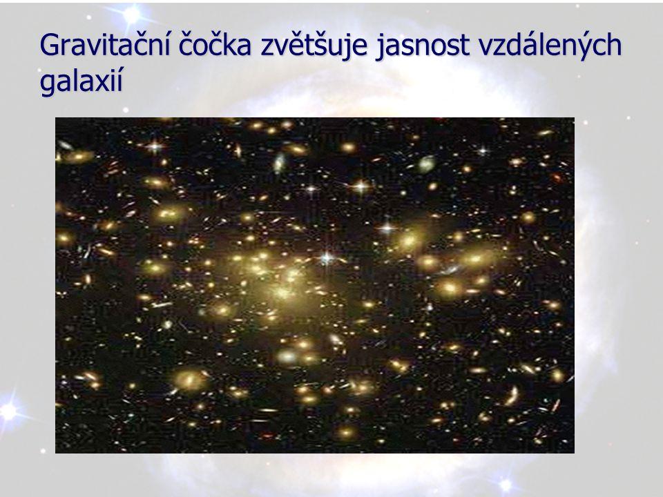 Gravitační čočka zvětšuje jasnost vzdálených galaxií