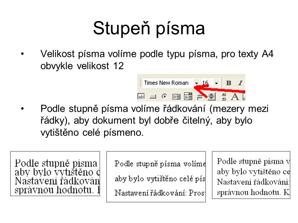Stupeň písma Velikost písma volíme podle typu písma, pro texty A4 obvykle velikost 12.