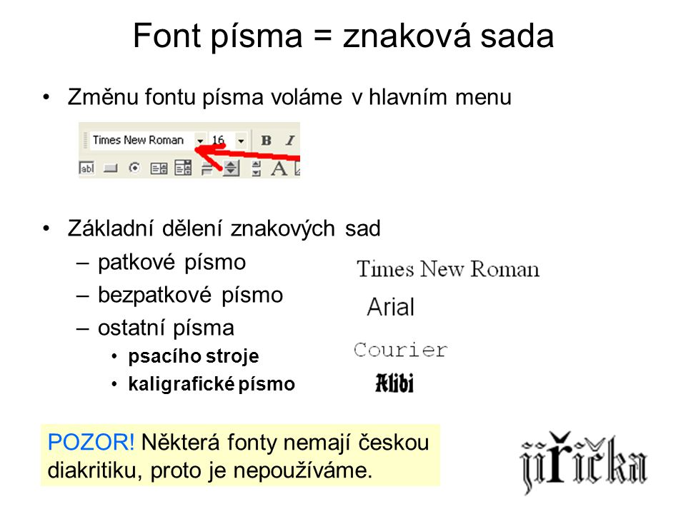 Font písma = znaková sada