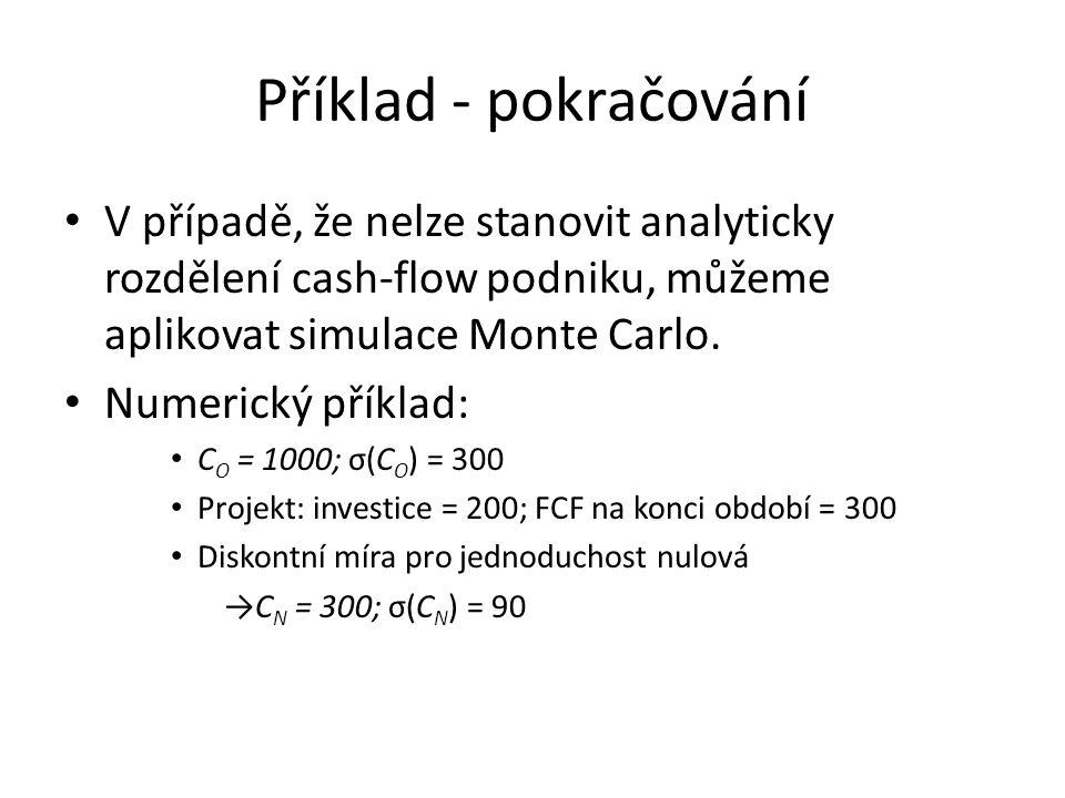 Příklad - pokračování V případě, že nelze stanovit analyticky rozdělení cash-flow podniku, můžeme aplikovat simulace Monte Carlo.