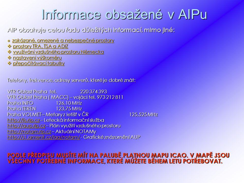Informace obsažené v AIPu