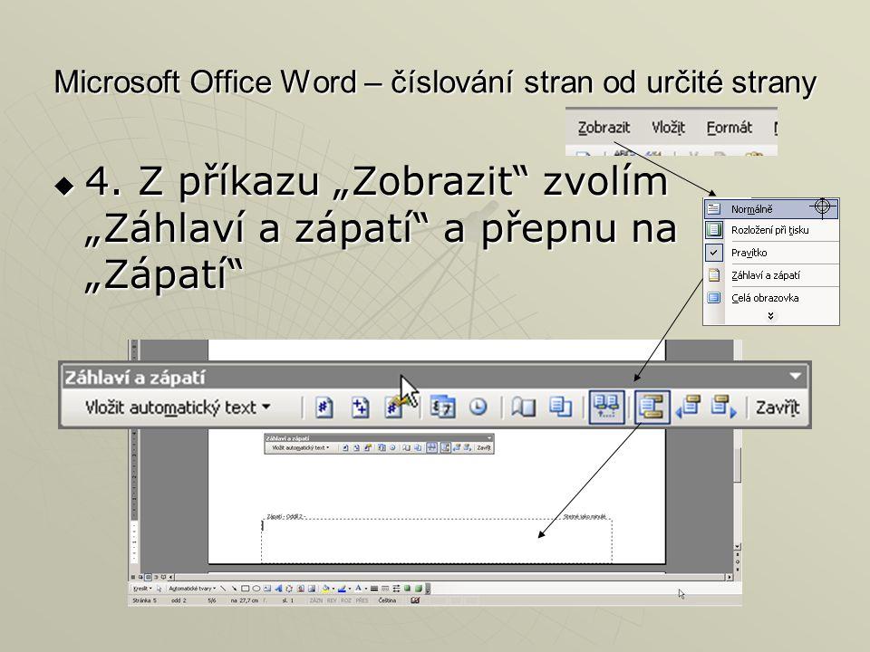Microsoft Office Word – číslování stran od určité strany