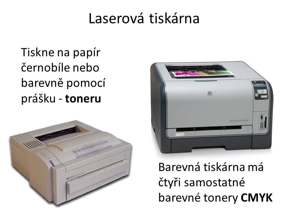 Laserová tiskárna Tiskne na papír černobíle nebo barevně pomocí prášku - toneru.