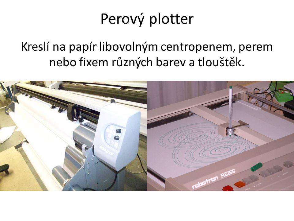 Perový plotter Kreslí na papír libovolným centropenem, perem nebo fixem různých barev a tlouštěk.
