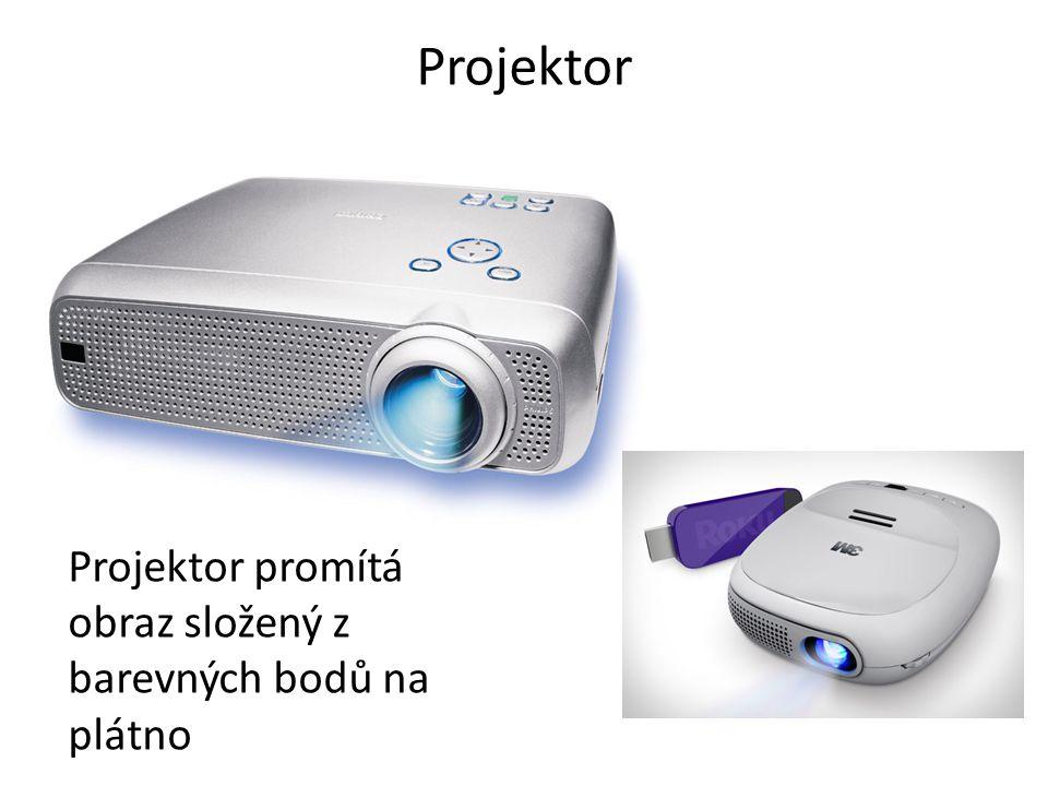 Projektor Projektor promítá obraz složený z barevných bodů na plátno