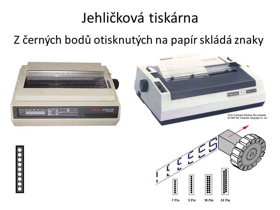 Jehličková tiskárna Z černých bodů otisknutých na papír skládá znaky