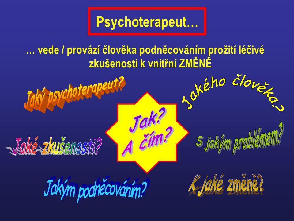 Psychoterapeut… … vede / provází člověka podněcováním prožití léčivé zkušenosti k vnitřní ZMĚNĚ. Jaký psychoterapeut