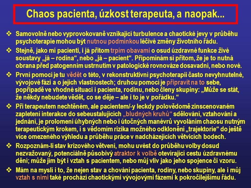 Chaos pacienta, úzkost terapeuta, a naopak...
