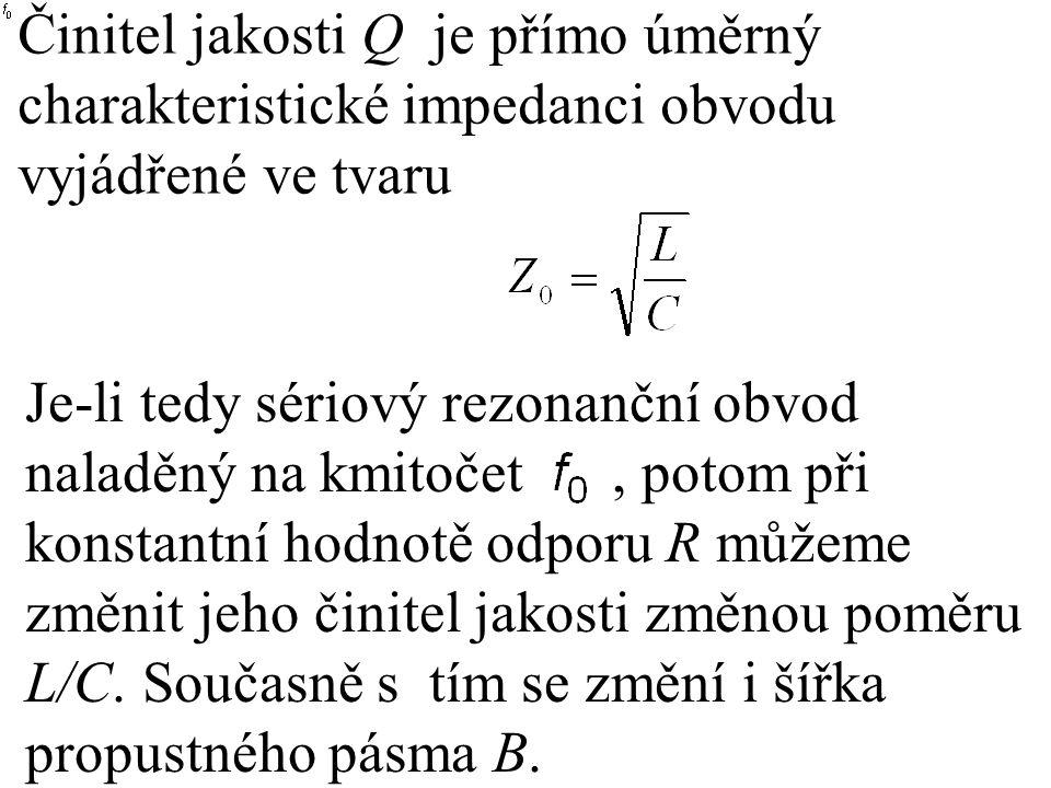 Činitel jakosti Q je přímo úměrný charakteristické impedanci obvodu vyjádřené ve tvaru