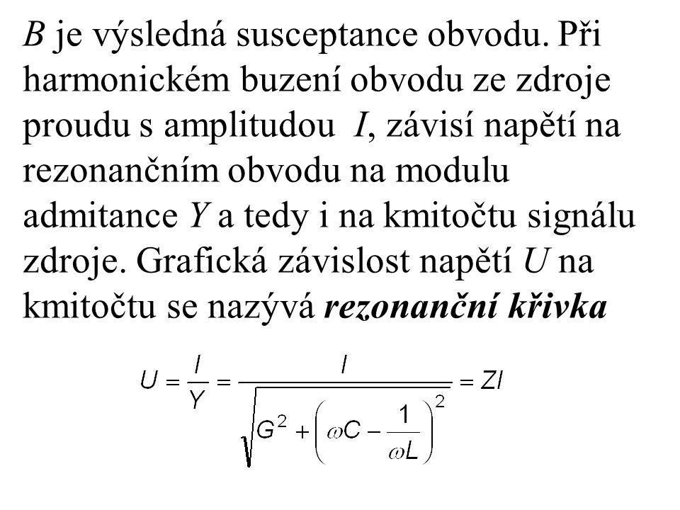 B je výsledná susceptance obvodu