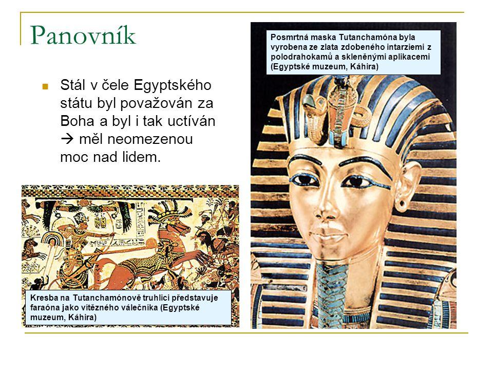 Panovník Posmrtná maska Tutanchamóna byla vyrobena ze zlata zdobeného intarziemi z polodrahokamů a skleněnými aplikacemi (Egyptské muzeum, Káhira)