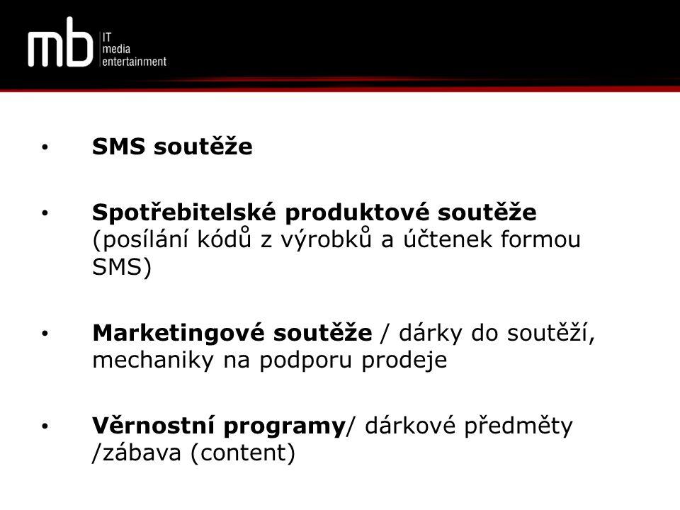 SMS soutěže Spotřebitelské produktové soutěže (posílání kódů z výrobků a účtenek formou SMS)