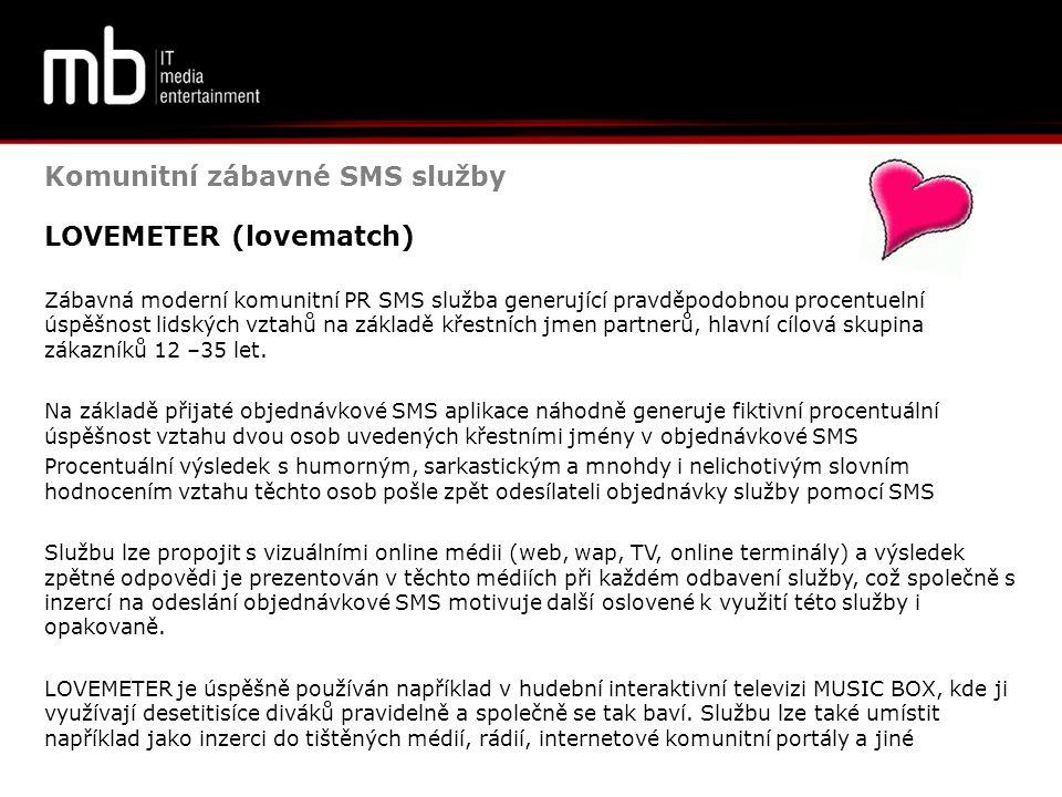 Komunitní zábavné SMS služby LOVEMETER (lovematch)